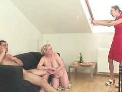 Granny fucks her son in law and her daughter walks in on them while they're naked