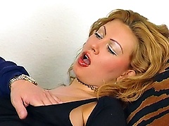Sex crazed fucker, pushing fingers inside mom's pussy before eating this juicy slit.