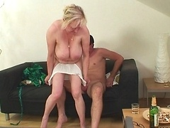 The granny pussy is tight around his cock and makes him feel like a man again