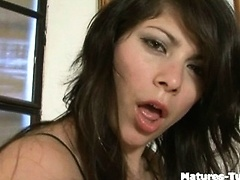 Hot brunette teases you with tight inching asshole