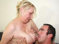 Getting up inside that granny fuck hole with his throbbing cock meat and loving her