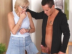 Fucking his sexy blonde mother in law hard in her naughty wet pussy to get off