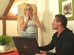 Hot granny slut with a great pussy screwed by a young man with a lust for hardcore fucking