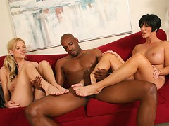 Mother and daughter tag team black guy with huge cock
